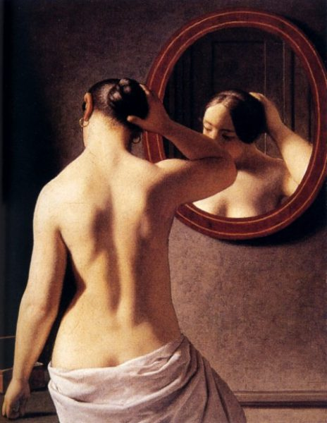 A nude woman doing her hair before a mirror, Christofer Wilhelm Eckersberg, 1841